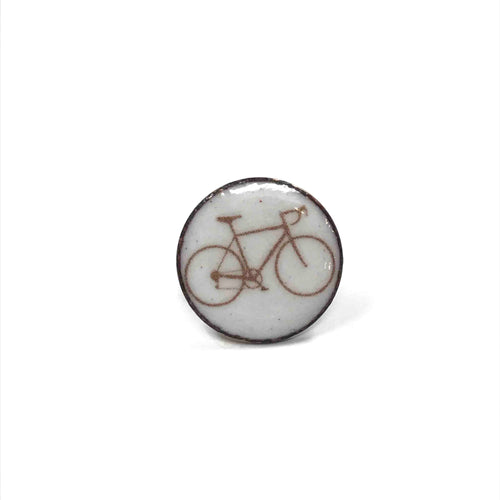 Lapel Pin, Bicycle Enameled Penny