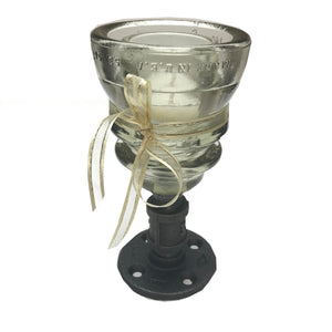 Insulator Glass Steampunk Large Candle Holder