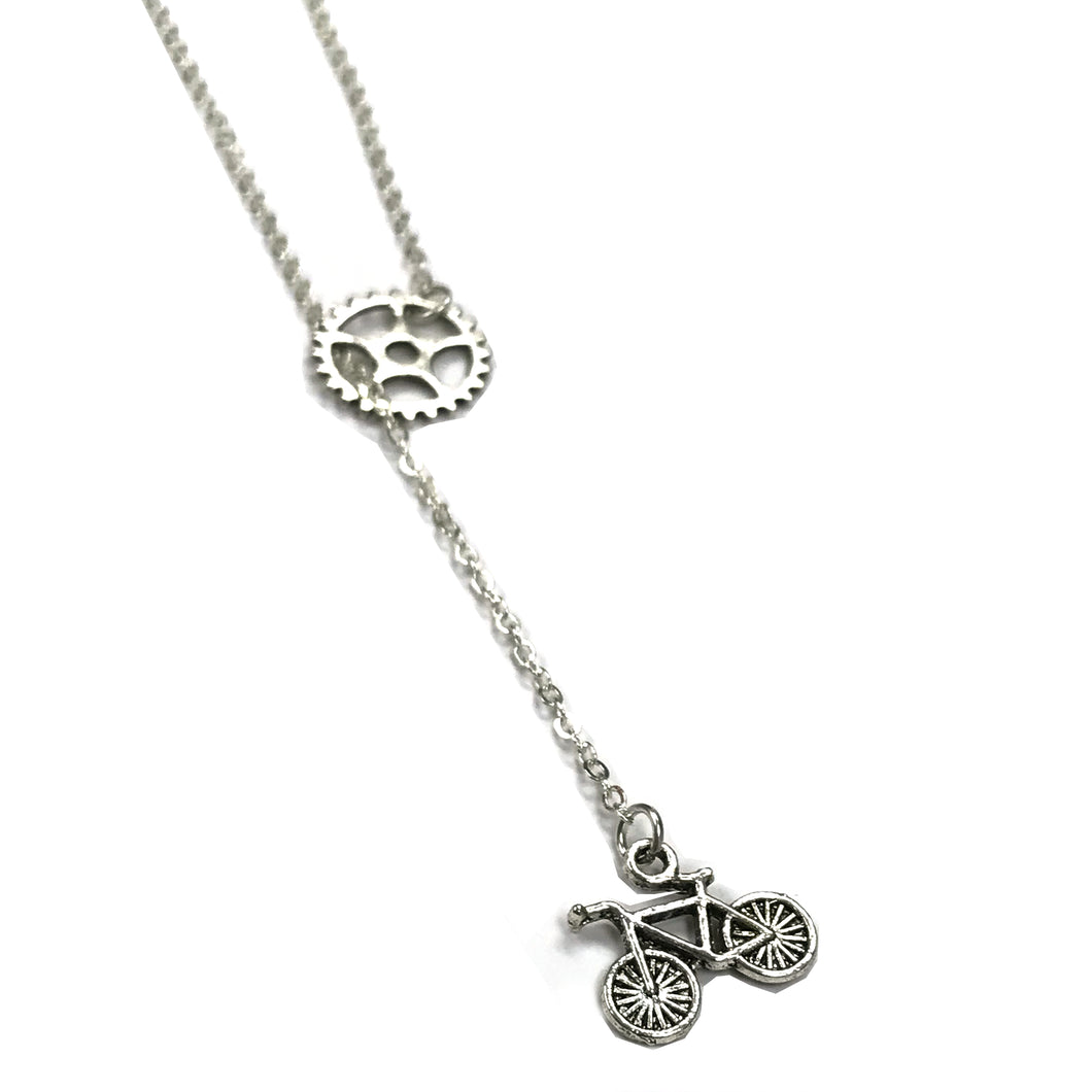 Gear and Bicycle Lariat Necklace