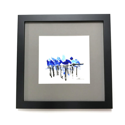 Paceline - Framed, Acrylic on Paper Original Work by Angelo Cane