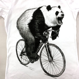 Panda on a Bicycle T-Shirt, Men's, White