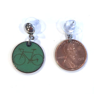 Bicycle Enameled Penny Post Earrings