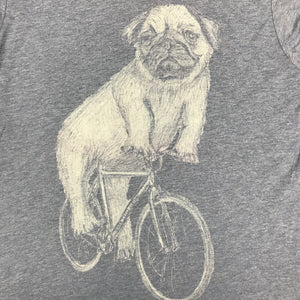 Pug on a Bicycle T-Shirt, Men's/Unisex, Gray