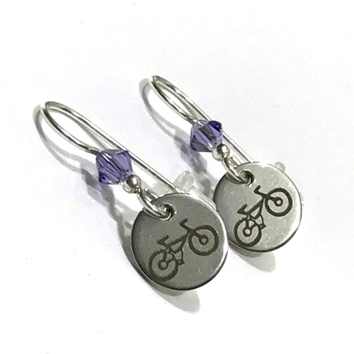 Bike Charm Swarovski Crystal Earrings
