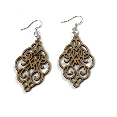 Arabesque Scroll Wood Earrings