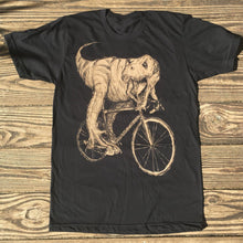 Tyrannosaurus Rex on a  Bicycle T-Shirt, Unisex