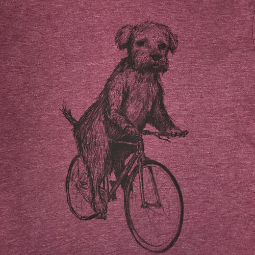 Terrier on a Bicycle T-Shirt, Men's/Unisex, Burgundy