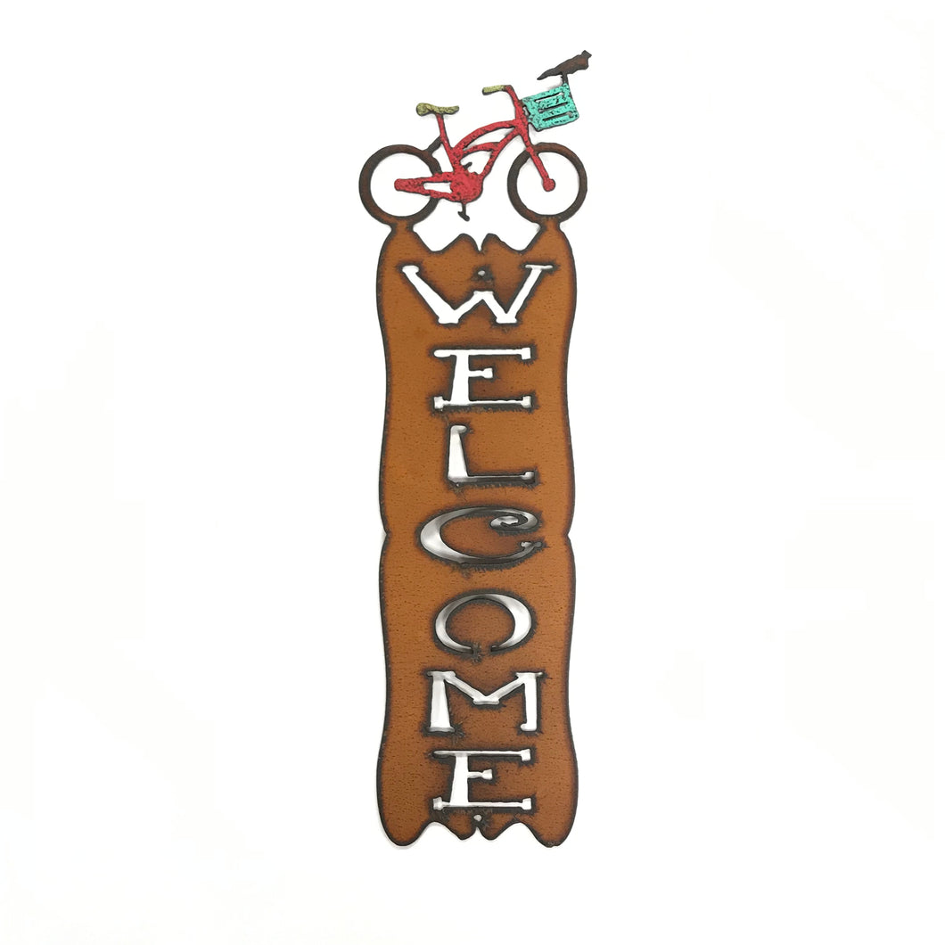 Metal Bicycle Welcome Sign