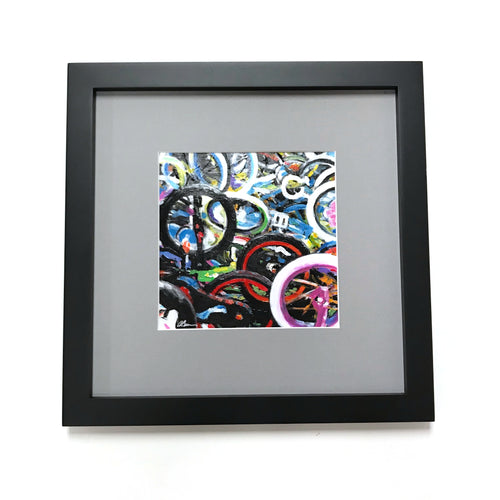 Wheels - Framed, Acrylic on Paper Original Work by Angelo Cane
