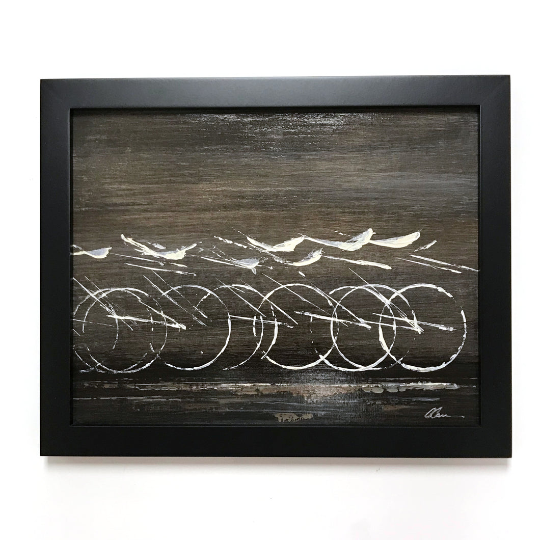 White Industrial Cycle - Framed, Acrylic on Paper Original Work by Angelo Cane