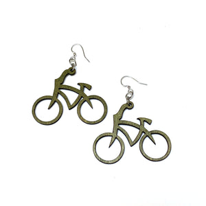 Wooden Bicycle Earrings