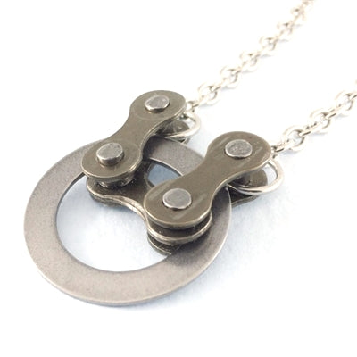 Bike Chain with Steel Circle Necklace