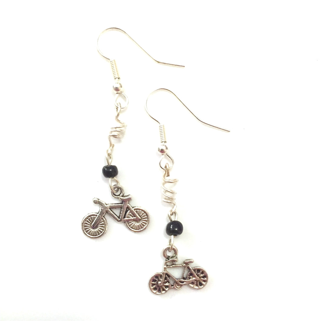 Silver Road Bike, Bead and Spiral Earrings by Steph