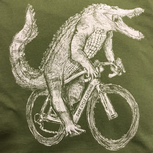 Gator on a Bicycle T-Shirt, Unisex, Olive
