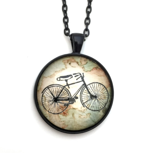 Bike Pendant with Map and Black Chain
