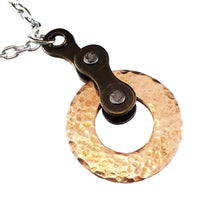 Hammered Copper Circle With Bike Chain Necklace