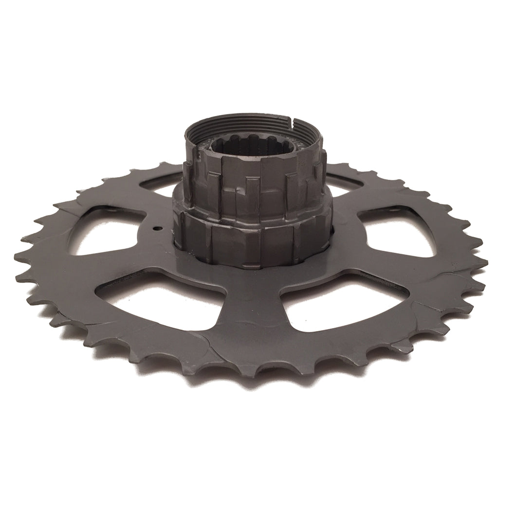Recycled Bicycle Hub Mounted to Gear Candle Holder
