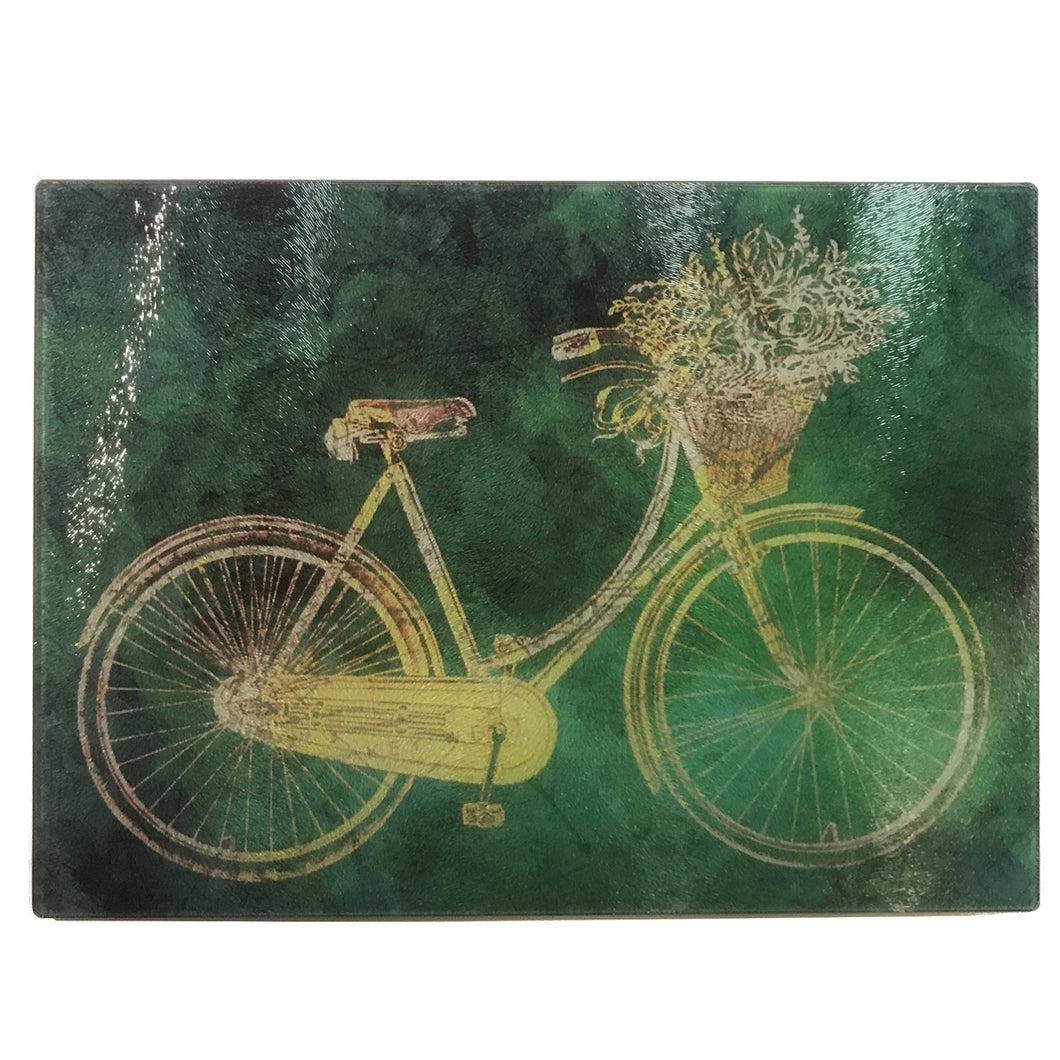 Glass Cutting Board, Vintage Bike with Greenish Background