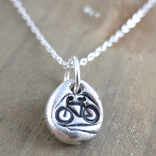 Petite Handstamped Bicycle Pebble Necklace