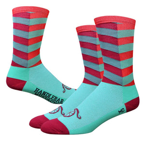 "DeFeet Handlebar Mustache Aireator 6"" Turquoise and Red City Socks"