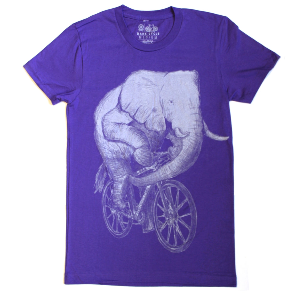 Elephant on a Bicycle T-Shirt, Women's, Purple