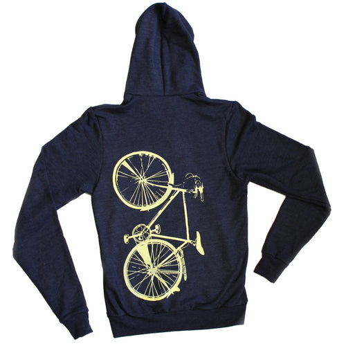 Bike Zip Hoodie, Unisex, Navy Blue With Off-White Graphic