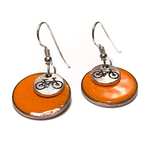Bike Charm Enamel Penny Earrings
