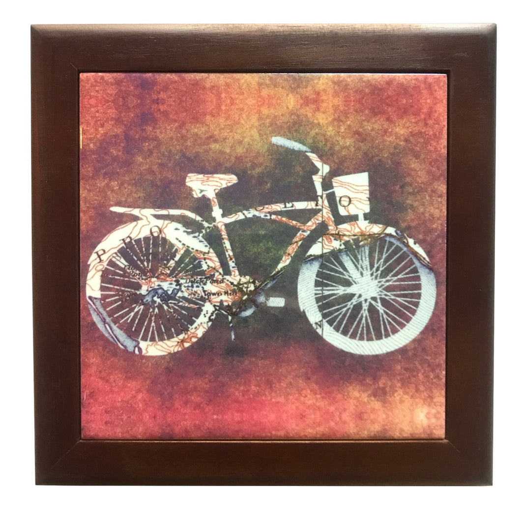 Framed Bicycle Trivet, Cruiser Bike with Reddish Background
