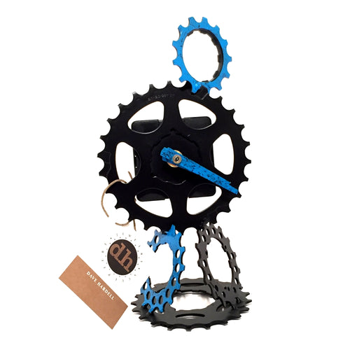 Cascading Gears Clock (Black & Blue)