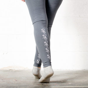 Fixie Bike Leggings, White Bike on Gray