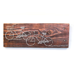 Wire Art Double Bike on Reclaimed Wood, Dark Brown