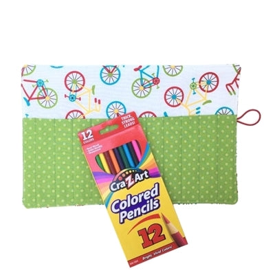 Colored Pencil Roll Up Holder with Bike Print