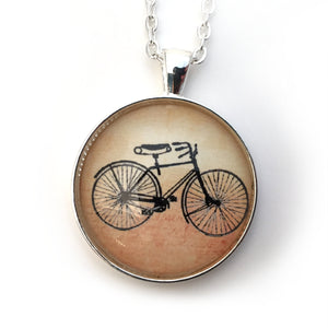 Bike Pendant with Silver Chain