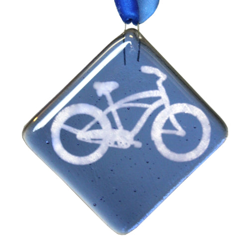 Fused Glass Bike Ornament