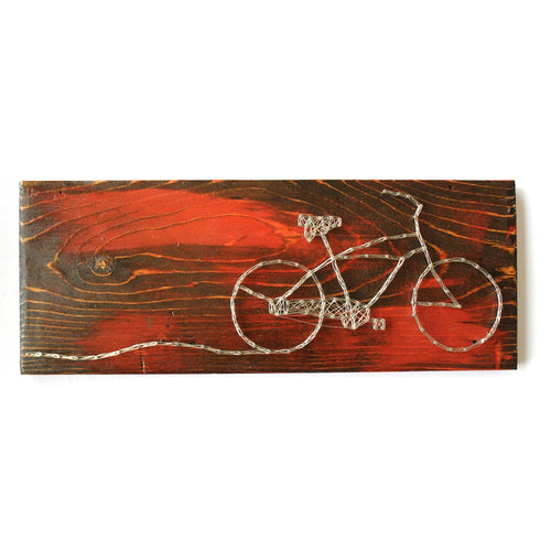 Medium Bike Wire Art on Reclaimed Wood, Red