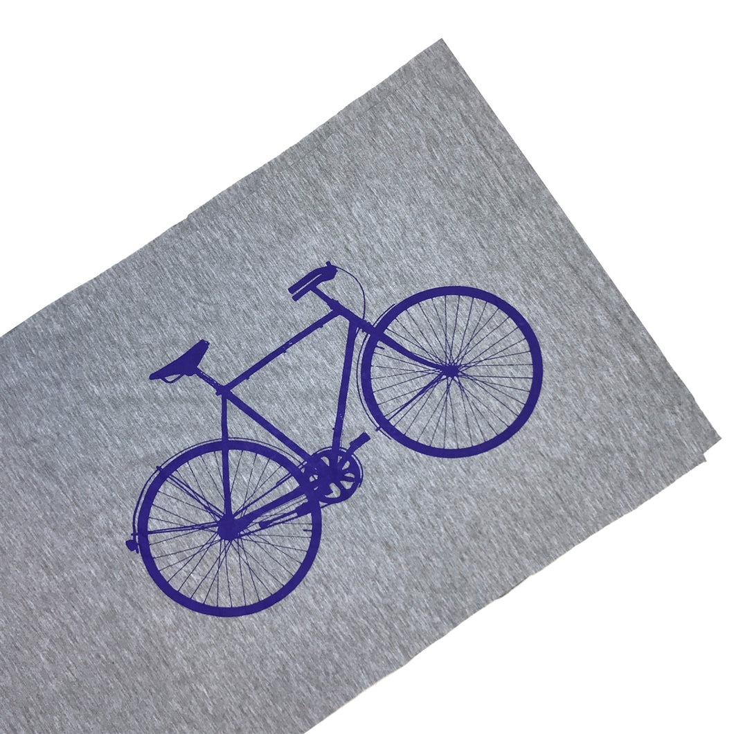 Unisex Bike Scarf Light Gray with Screenprint Bicycle Graphic