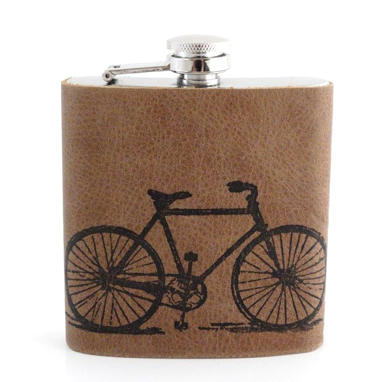 Hip Flask, Leather with Bike Imprint