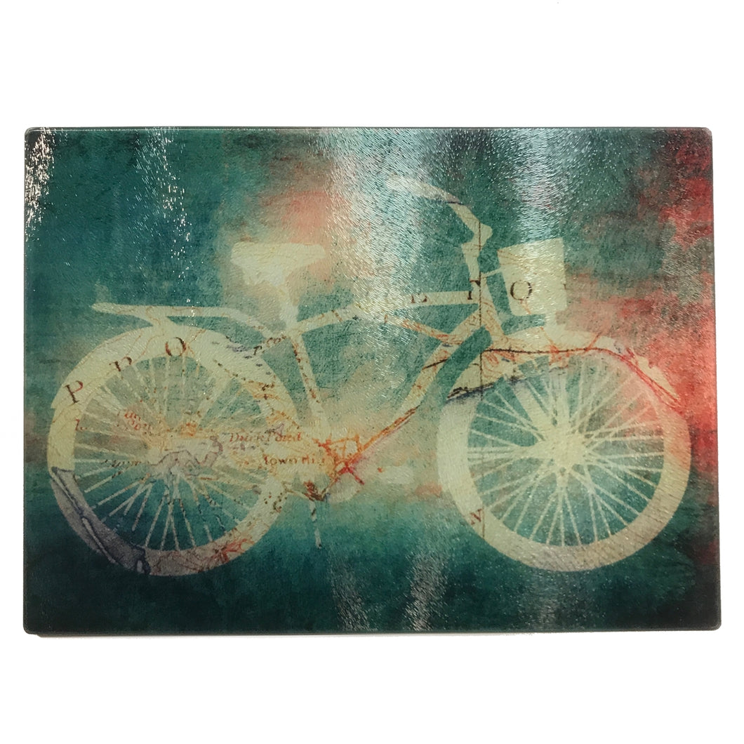Glass Cutting Board, Cruiser Bike with Greenish Background