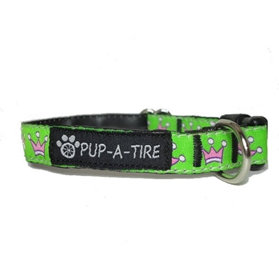 Green with Pink Crowns Dog Collar - Made With Recycled Bike Tubes - Small