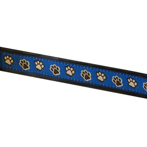 Blue Paw Print Dog Leash - Made With Recycled Bike Tubes