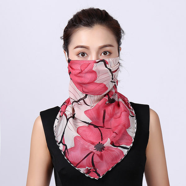 Summer Masks Flower Printed Women's Large Neck Guard - UNVACANAL
