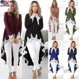 US Womens Long Sleeve Irregular Lace Long Shirt Blouse High Low Tunic Tops Dress - UNVACANAL