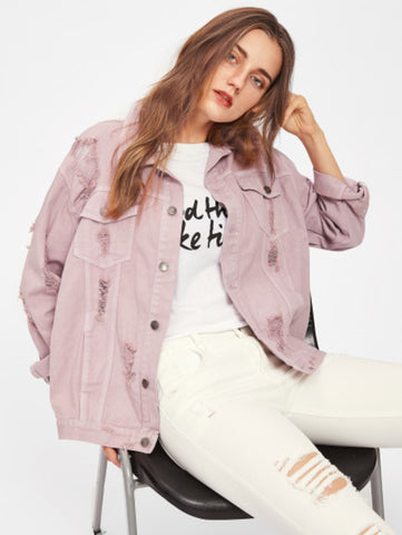 Rips Detail Boyfriend Denim Jacket - UNVACANAL