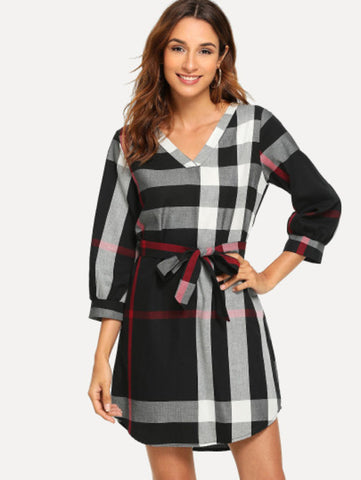Plaid Self Tie Waist Dress - UNVACANAL
