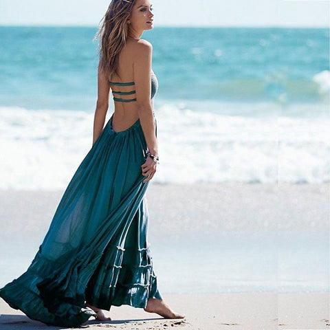 Low Back Maxi Beach Dress - UNVACANAL