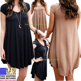 Women Tunic Top Shirt Casual Fashion dress - UNVACANAL