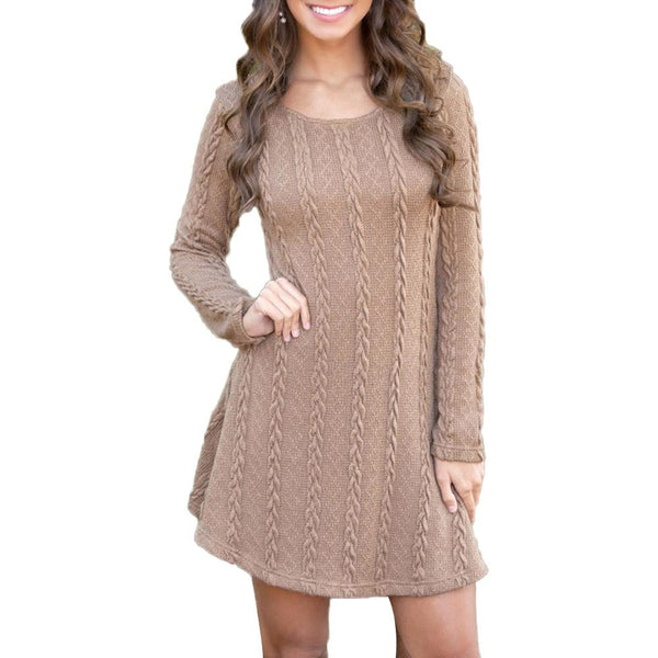 Women Knitted Crew Neck Mini Sweater Dress - UNVACANAL