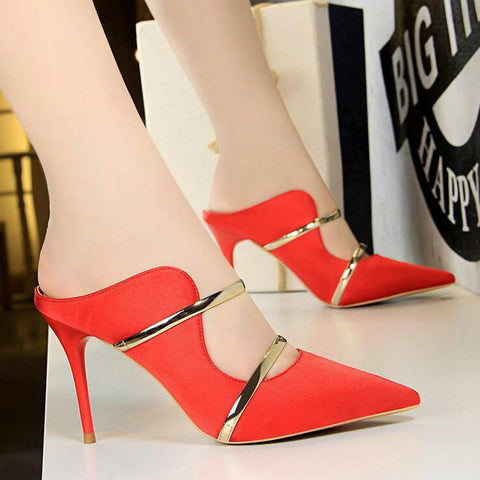 Women Outdoor Party Silk Pointed Toe Thin Super High Heels - UNVACANAL