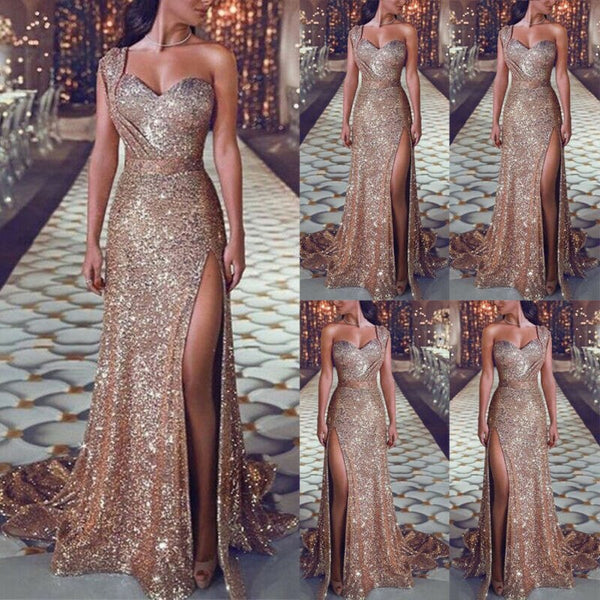 Women Sexy Sequin Glitter Long Dress Sparkly Bodycon Gown - UNVACANAL