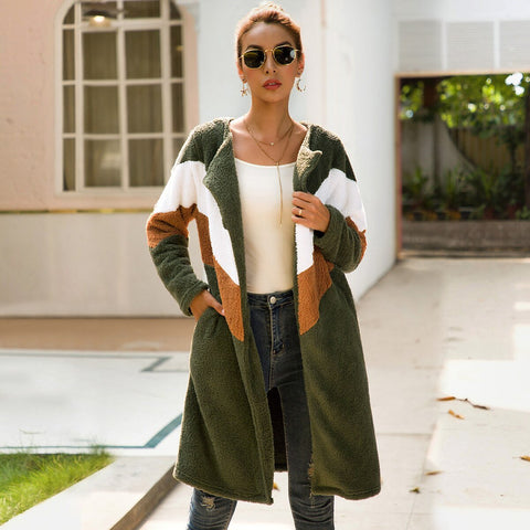 Women Patchwork Color Army Green Long Cardigan - UNVACANAL